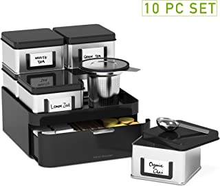 Mind Reader Loose-Leaf Tea Organizer, 6 Canisters with One Tray, Black/Silver