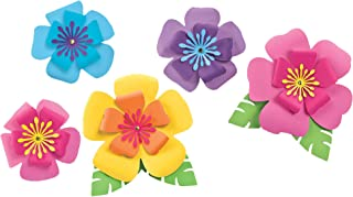 Amscan 242147 Party Supplies Hibiscus Paper Flowers 5ct, Sizes, Multi Color