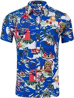 41ccfb7f326a42 CLOUSPO, Camicia Hawaiana da Uomo con Stampa a Maniche Corte e Tasca  Frontale, per