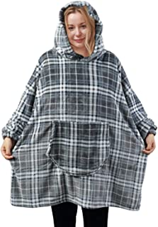 softan Flannel Fleece Hoodie Blanket Sweatshirt Super Soft Warm Cozy Giant Hoody Large Front Pocket One Size for All (Grey Plaid)