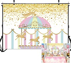 Haboke 7x5ft Soft/Durable Fabric Photography Backdrop Circus Party Supplies Carousel Carnival Twinkle Gold Star Background for Kids or 1st Birthday Decorations Photo Studio Props Pictures