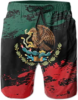 QQMIMIG Mexican Flag Men's Summer Swim Trunks Quick Dry Casual Beach Board Cargo Shorts