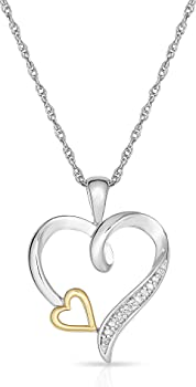 10K Yellow Gold and Sterling Silver Heart Diamond Accent Pendant