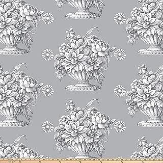 FreeSpirit Fabrics Kaffe Fassett 108'' 300 Thread-Count Sateen Quilt Back Stone Flower - Gray Fabric Fabric by the Yard