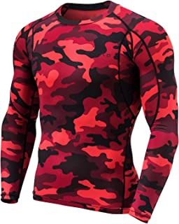 TSLA Men's 1 or 2 Pack Long Sleeve T-Shirt Baselayer Cool Dry Compression Top Round Neck