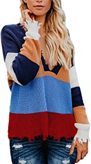 Wobuoke Womens Multicolor Striple Sweater Casual Knitted Casual Loose Long Sleeve Pullover