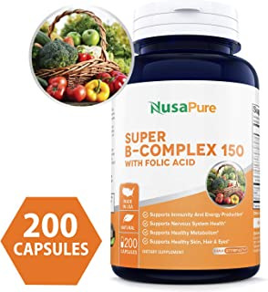 B-Complex 150 (Non-GMO, Soy Free & Gluten Free) 200 Capsules - Aids Metabolism and Antioxidant Support - with Choline, Inositol, Paba & Folic Acid