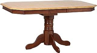 Sunset Trading Oak Selections Dining Table, Light Medium Walnut Pedestal