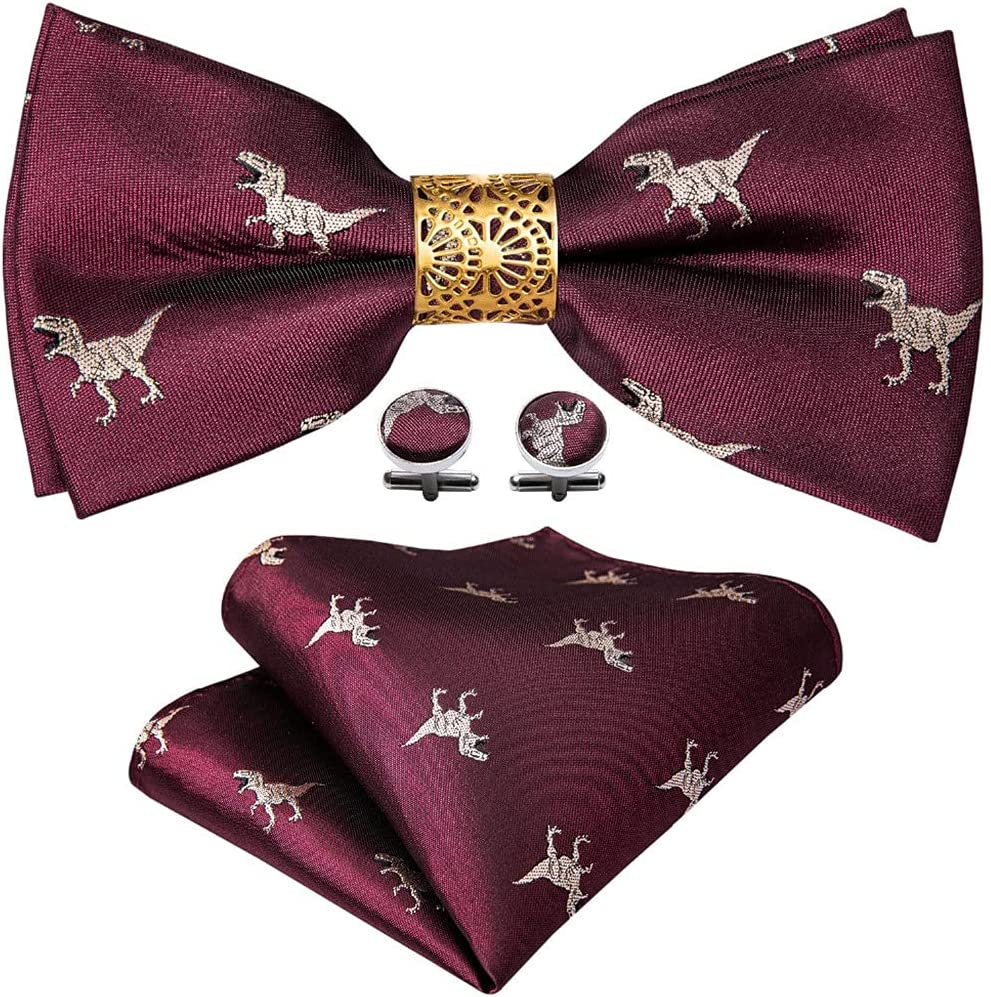 CDQYA Gold Silk Pre-Bow Tie For Men Wedding Accessorie Adjustable Butterfly Handky Removable Gold Ring Set (Color : Gold, Size : One size)
