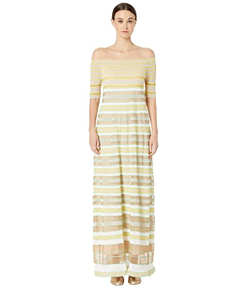 M Missoni Off Shoulder Maxi Dress in Sheer Stripes