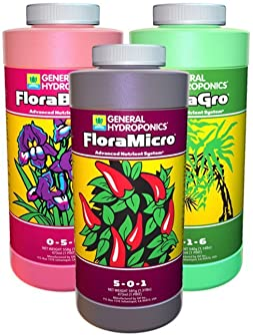 General Hydroponics Flora Grow, Bloom, Micro Combo Fertilizer
