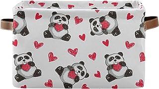 DOMIKING Panier de rangement rectangulaire en forme de panda avec poignées - Panier de rangement pour chambre d'enfant, li...