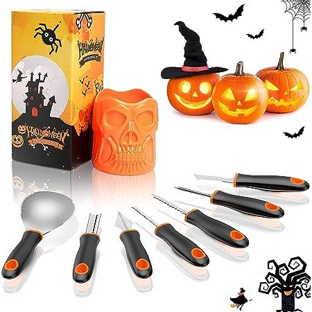 pour Adultes et Enfants Accessoire de d/écoration Halloween Nabance Lot de 12 coupures de Citrouille pour Halloween Kit de Sculpture Citrouille en Acier Inoxydable