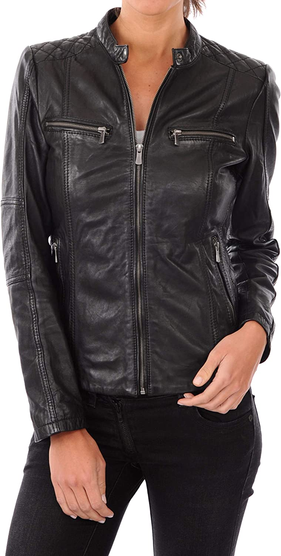 KAINAT quality assurance Women's Motorcycle Minneapolis Mall Bomber Biker Jacket H Lambskin Leather