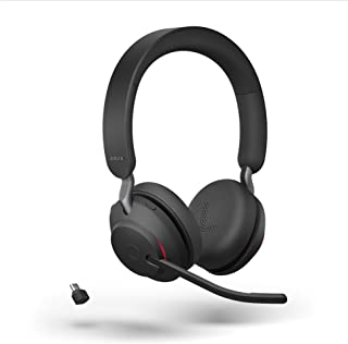 Jabra Evolve2 65 draadloze pc-headset – ruisonderdrukkende Microsoft-teams gecertificeerde stereohoofdtelefoon met duurzam...