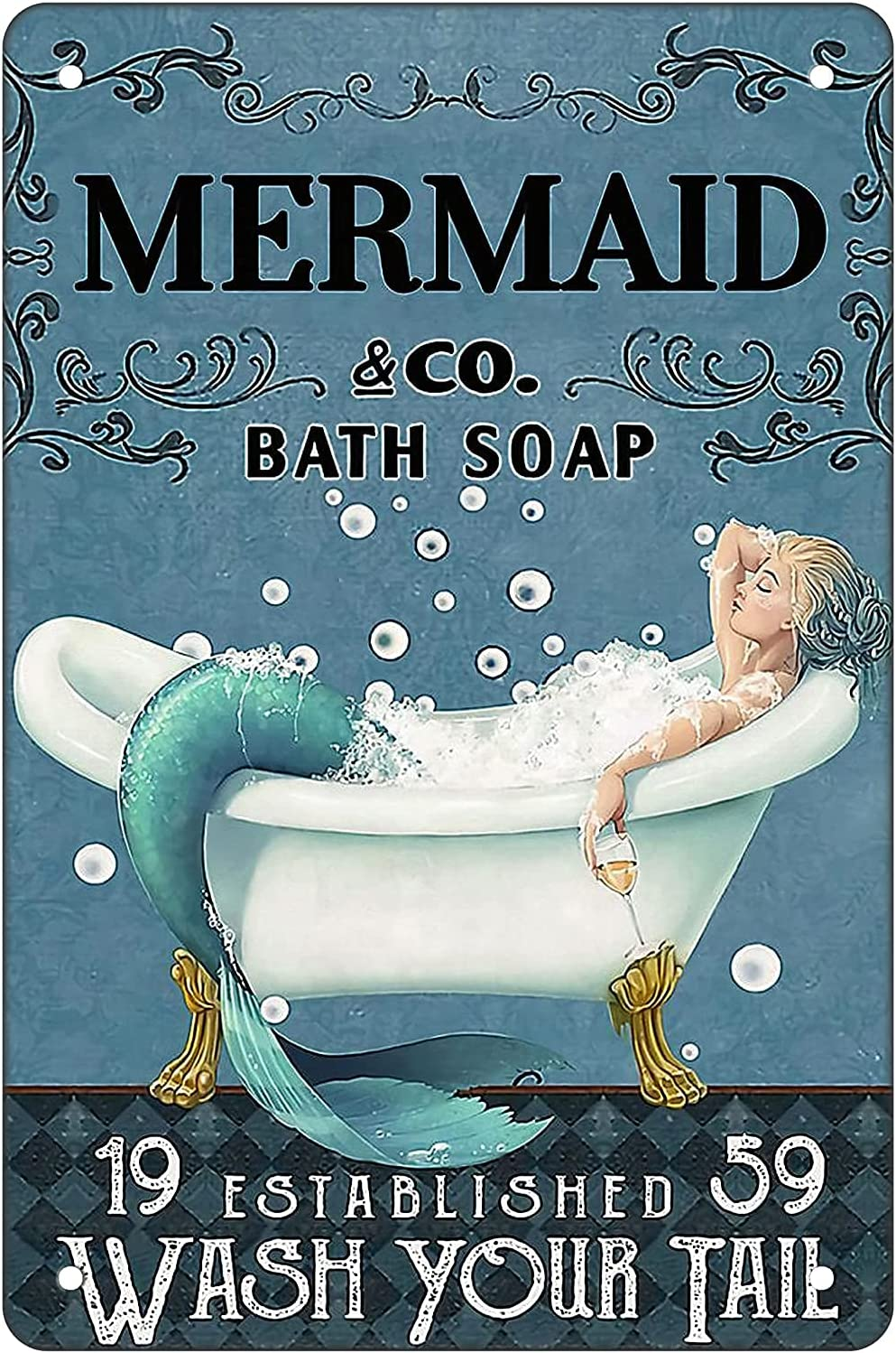 sanstar Funny Mermaid Tin Sign Metal Poster - Mermaid Bath Soap Wash Your Tail - Retro Metal Sign for Home Kitchen Bathroom Farm Garden Garage Inspirational Quotes Wall Decor Art Gifts 8X12 Inch