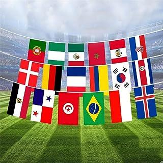 Wicemoon 2018 Bandera de la Copa del Mundo de Rusia, banderines de fútbol de 32 banderas de banderas para club de deportes, fiesta, club, celebración, banderas de 8,5 m, 21 x 14 cm