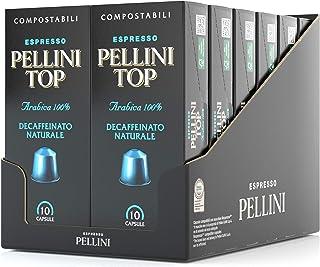Pellini Caffè Top Arabica 100% Decaffeinato Naturale, Capsule Compatibili Nespresso, COMPOSTABILI e Autoprotette, 12 Astuc...