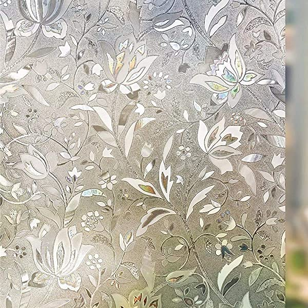 Arthome 3D Window Films Flower Decoration Patterns Film No Glue Static Cling Anti UV For Kitchen Home Office 35 4 Inches By 100 Inches