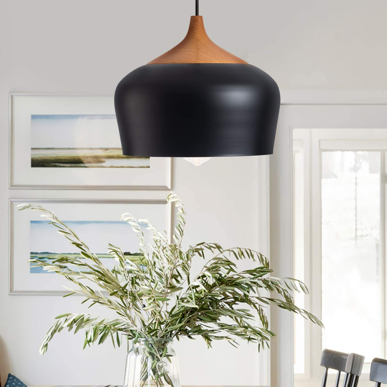 CHYING Farmhouse Pendant Light with Bulb Ranking TOP14 Wooden Free shipping New LED 1-Light Pat