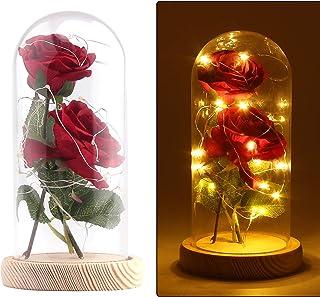 Konesky La Bella y la Bestia Kit de Rosas, Romántica Base Pino Luces LED Con Pantalla De Cristal DIY Regalo Lámpara Rosa Bar de KTV Decoración De Escritorio, Día de San Valentín Aniversario Bodas