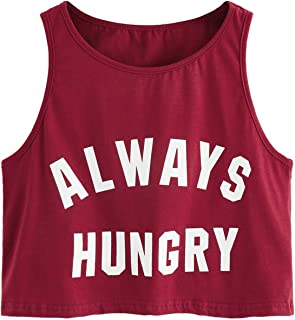 Women's Summer Sleeveless Letter Print Casual Crop Tank Top Shirts