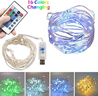 LED String Lights 16ft with 50 LEDs Fairy Lights for Bedroom, Patio, Indoor/Outdoor Waterproof Copper Wire Lights for Birthday, Wedding Multicolor 16 Colors Remote Control USB Power Christmas Lights