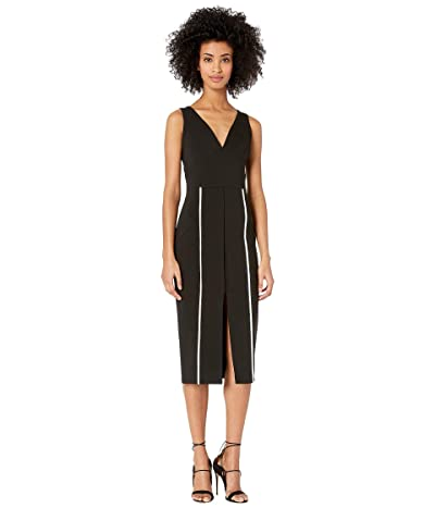 YIGAL AZROUEL V-Neck Bodycon Dress with Constrasting Top Stitch (Jet) Women