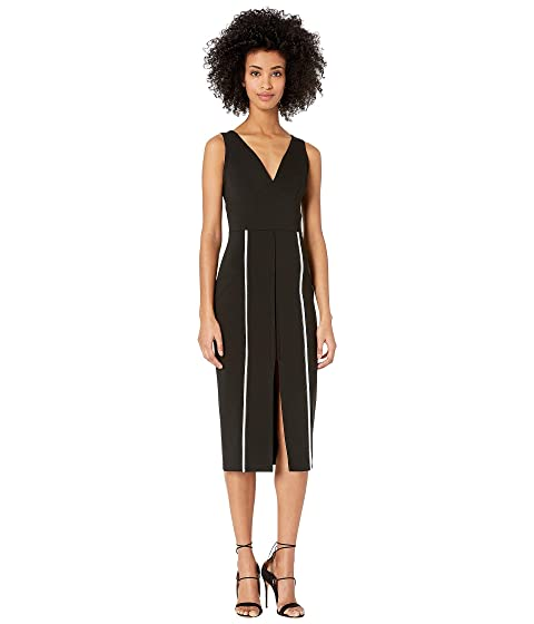 YIGAL AZROUËL V-Neck Bodycon Dress with Constrasting Top Stitch