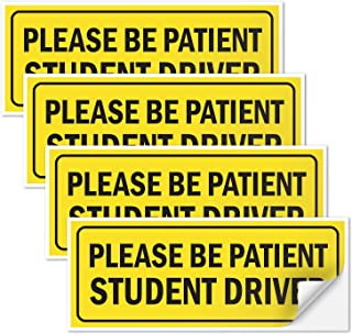(4 Pack) Student Driver Sign Please Be Patient, 3x9 4 Mil Sleek Vinyl Decal Stickers Weather Resistant Long Lasting UV Protected and Waterproof Made in USA