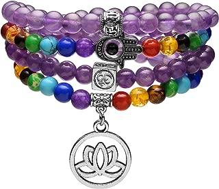 Jovivi 108 Mala Prayer Beads Healing Crystal Necklace 6mm Lava Rock Stone Essential Oils Diffuser Bracelet 7 Chakras Bracelets Yoga Meditation for Stress Relief