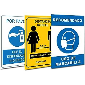 Señalización Coronavirus COVID19 | Pack 3 Carteles Dispensador Gel ...
