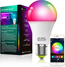 Alexa Compatible Smart Light Bulb with Remote, Vanance A19 E27 10W 800LM WiFi & Bluetooth Dimmable White and Color Changin...