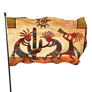 Southwest Native American Kokopelli Garden Flag 3x5 Foot Banner With Brass Grommets Fly House Indoor Outdoor Home Boat Yacht Car Decorations