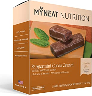 Neat Nutrition Meal Replacement Bar - Peppermint Cocoa Crunch Flavor Pre Workout Protein Bars - High Protein, Low Carb, Lo...