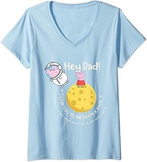 Femme Peppa Pig Moon & Back Father's Day T-Shirt avec Col en V