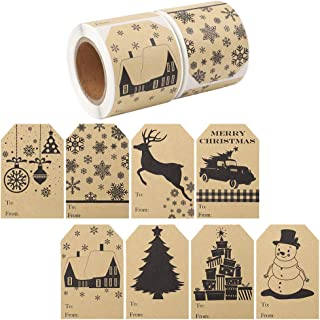 Cocoboo 320 Pieces Christmas Gift Tags Stickers 2 x 3 Inches, Christmas Kraft Stickers(8 Different Designs)