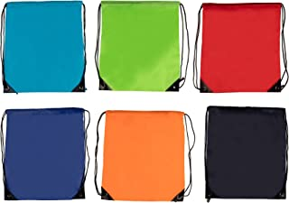 Colorful Drawstring Bags - 6-Pack Drawstring Backpacks, Lightweight Polyester Cinch Sack Tote