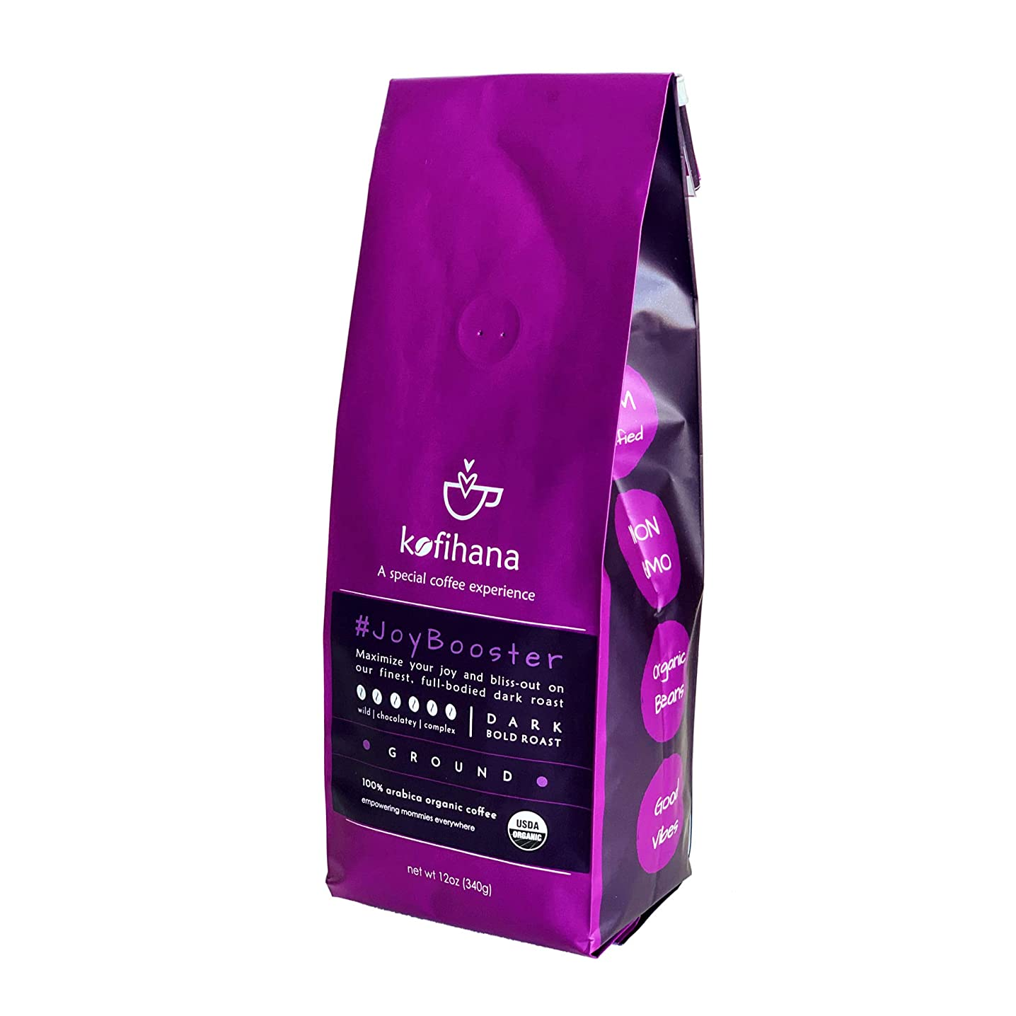 Kofihana #JoyBooster Organic Specialty Coffee - Dark Roast 100% Arabica Organic Coffee - USDA Certified - Hondura Single Origin - 12 oz. GROUND