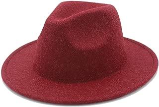 Size 56-58CM Women's Men's Winter Autumn Wool Fedora Hat with Wide Brim Sombreros Jazz Hat for Gentleman Church Top Hat (Color : Wine red, Size : 56-58CM)