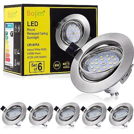 Bojim 6x Spot LED Encastrable Orientable GU10, Lampe de plafond Blanc du Jour Plafonnier Encastré 6W 600lm Equivalente de 54W Ampoule 30°orientable 120°d'éclairage 220V Rond Métal Nickel Non Dimmable