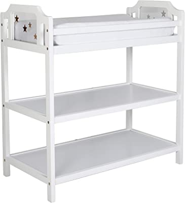 White Discontinued by Manufacturer LA Baby 3 Shelf Wooden Changing Table
