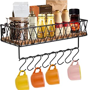 Coffee Mug Holder, Wall Mounted Coffee Mug Rack, Rustic Wood Coffee Cup Organizer with 8 Hooks, Kitchen Spice Rack with Towel Bar, Bathroom Floating Shelves for Organize, Kitchen Utensils Hooks Hanger