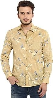 Mufti Men's Floral Slim Fit Casual Shirt (MFS-9793-H-06_Khaki_5XL)