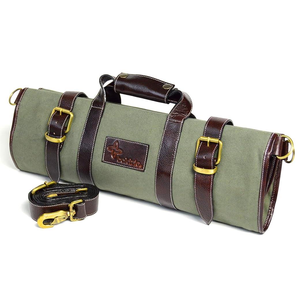 Boldric Green Canvas 17 Pocket Knife Bag