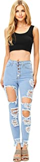 Vibrant Women's Juniors High Waisted Extreme Ripped Jeans