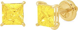 3.9ct Brilliant Princess Cut Solitaire Canary Yellow Simulated DIamond CZ Unisex Anniversary Gift Stud Earrings Solid 14k Yellow Gold Screw Back Clara Pucci conflict free Jewelry
