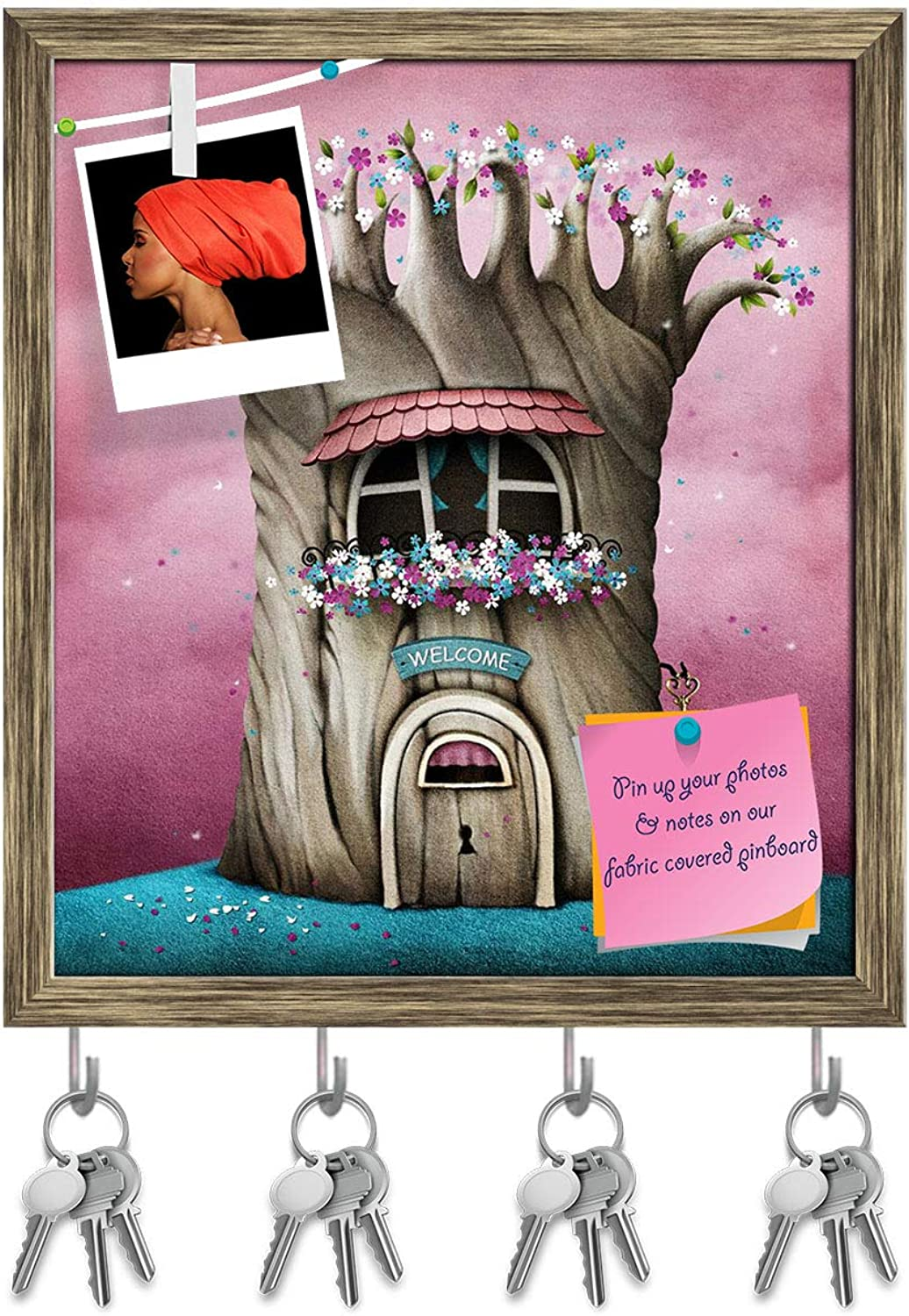 Artzfolio Blooming Tree with Window & Flowers Key Holder Hooks   Notice Pin Board   Antique golden Frame 16 X 18.2Inch