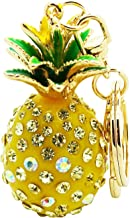 Libaraba Cute Drop Glaze and Rhinestone Inlaid Pineapple Keychain Birthday Gift Car Key Pendant
