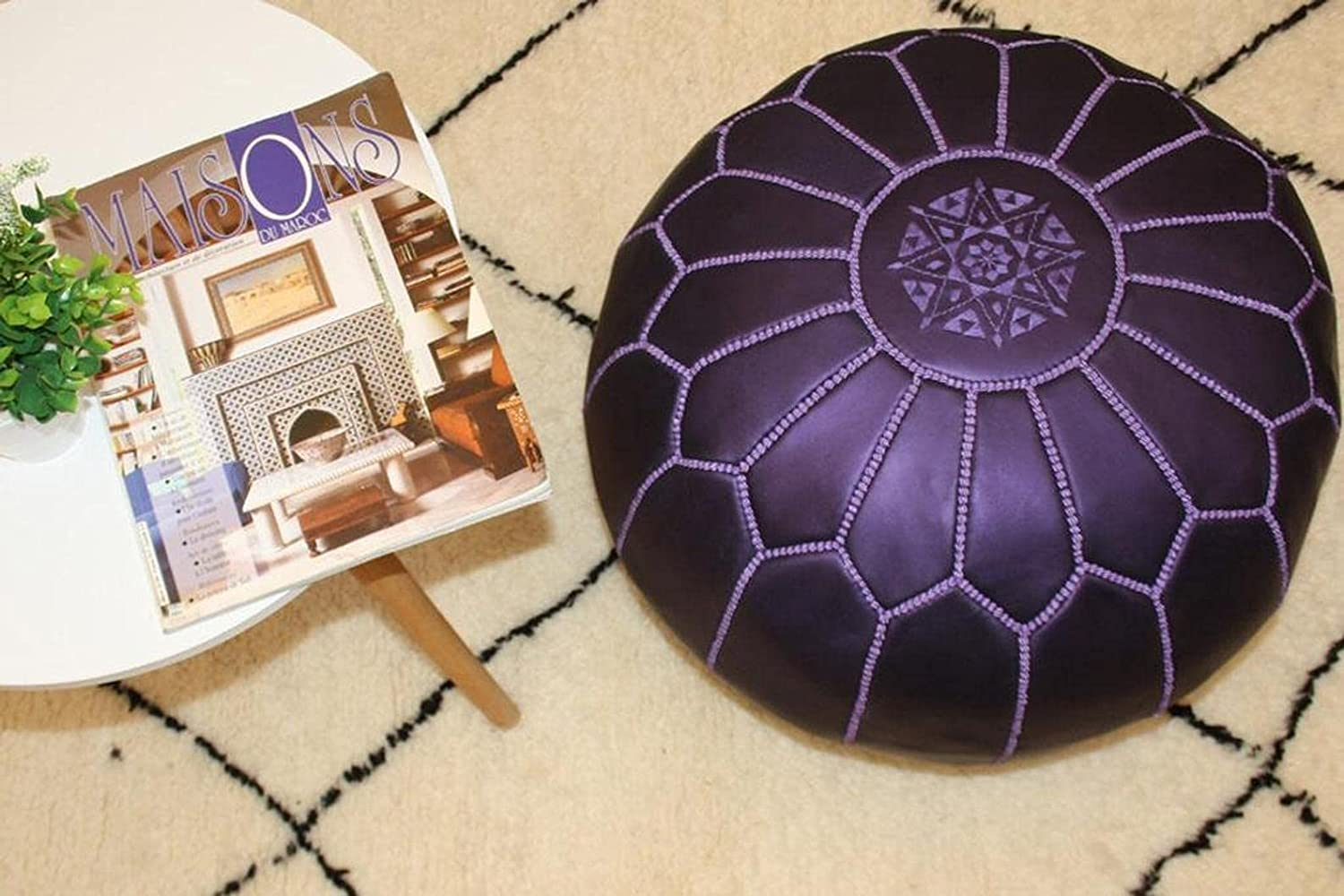 Handmade leather Max Limited price sale 82% OFF Moroccan Pouf Dark Ottoman Footstool